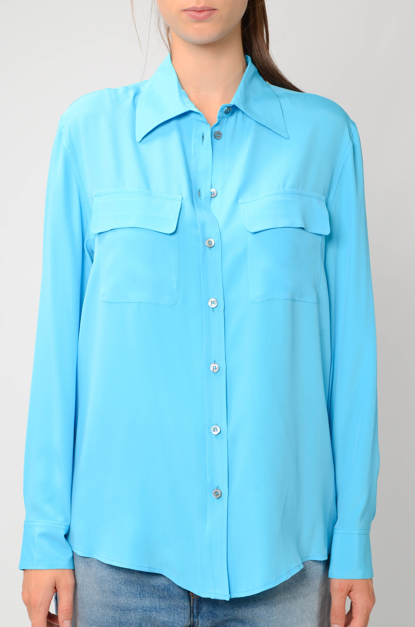 SILK BLEND BLOUSE IN TURQUOISE-1