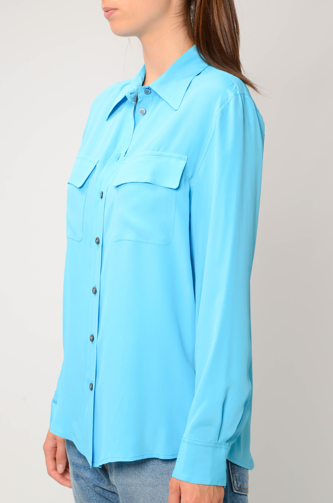 SILK BLEND BLOUSE IN TURQUOISE-3