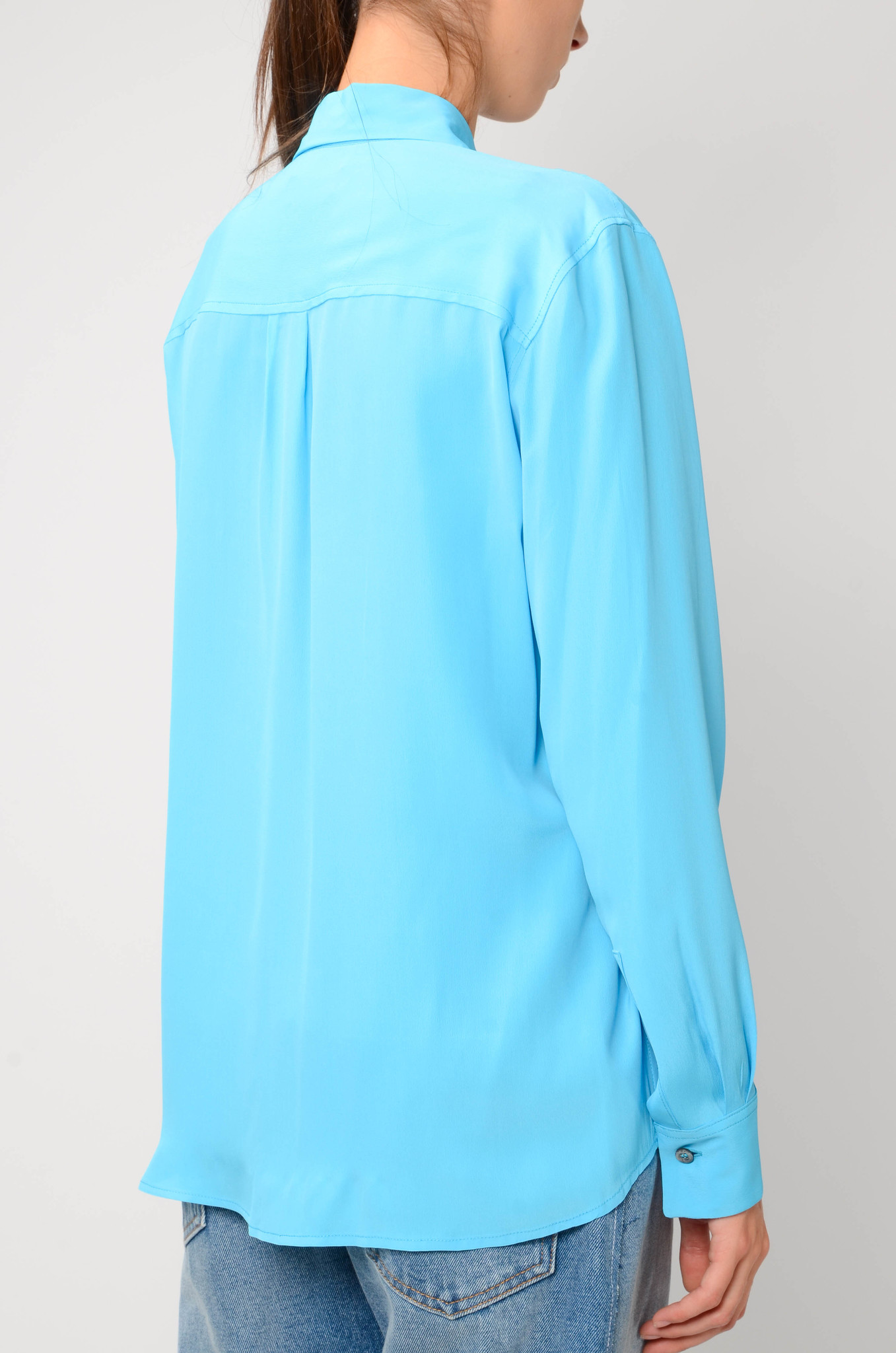 SILK BLEND BLOUSE IN TURQUOISE-4