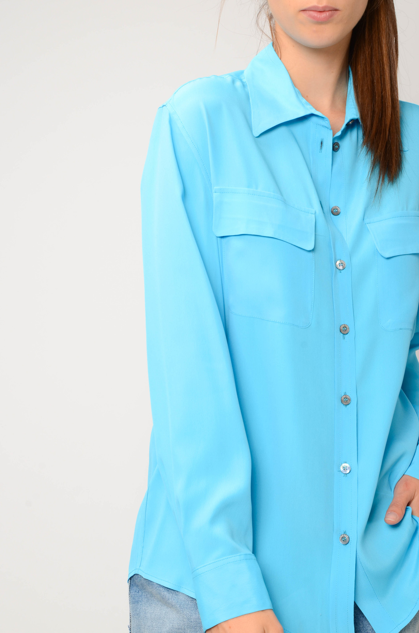SILK BLEND BLOUSE IN TURQUOISE-5