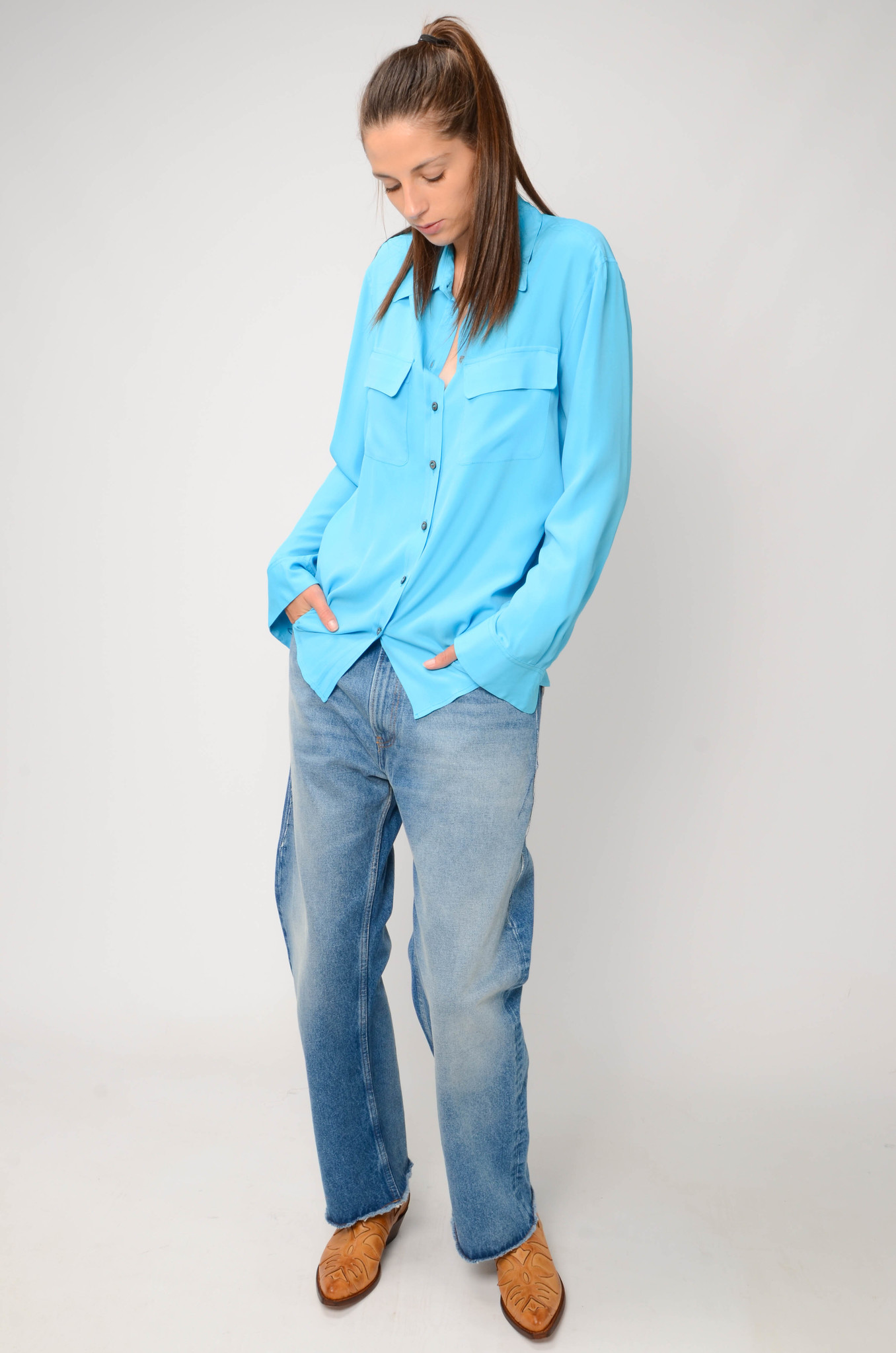 SILK BLEND BLOUSE IN TURQUOISE-2