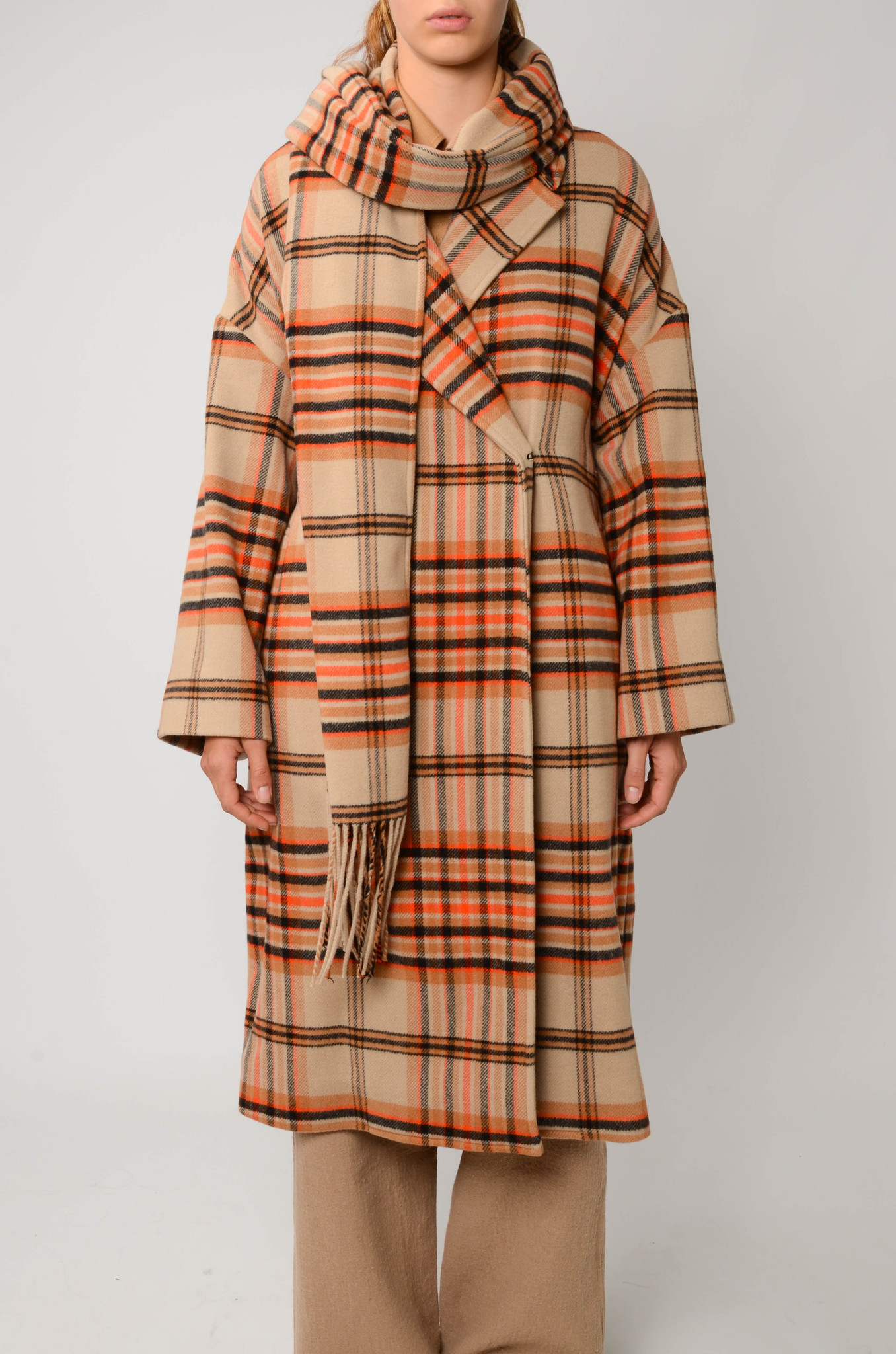 CHECKERED COAT IN ORANGE AND CAMEL-3