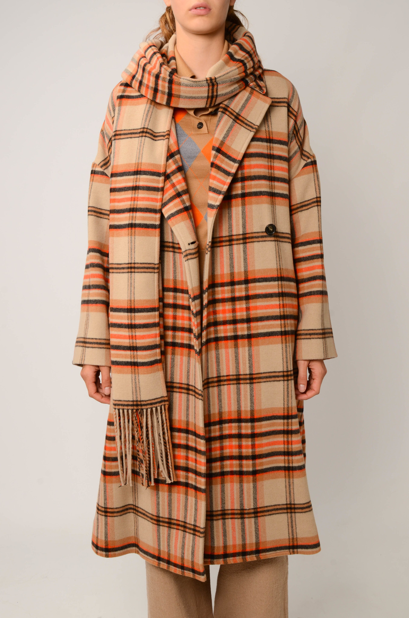 CHECKERED COAT IN ORANGE AND CAMEL-1