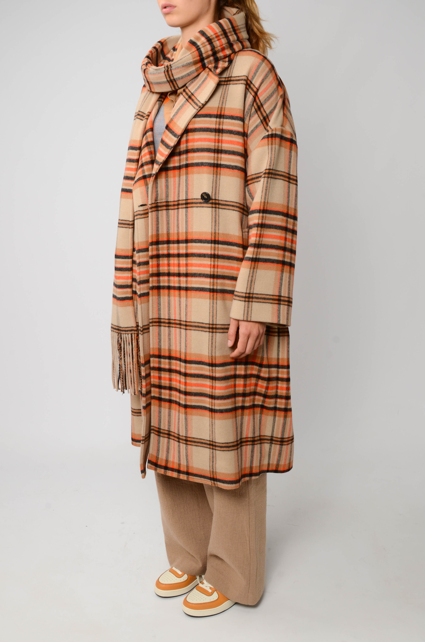 CHECKERED COAT IN ORANGE AND CAMEL-4