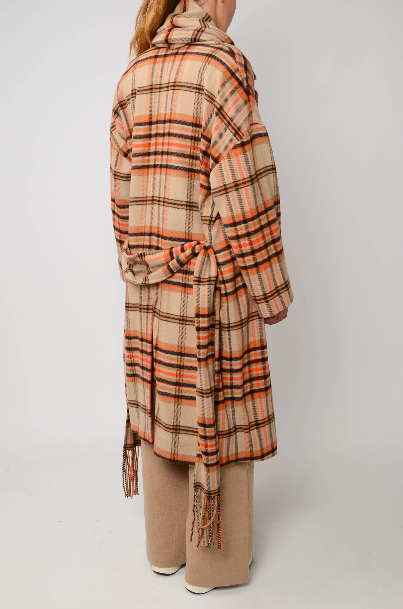 CHECKERED COAT IN ORANGE AND CAMEL-5
