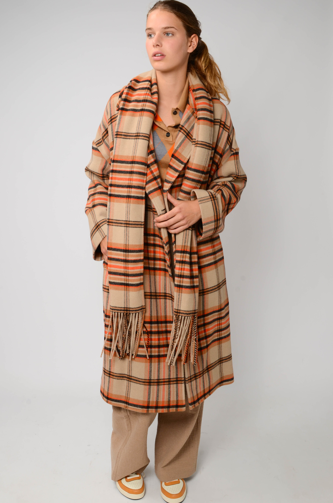 CHECKERED COAT IN ORANGE AND CAMEL-2