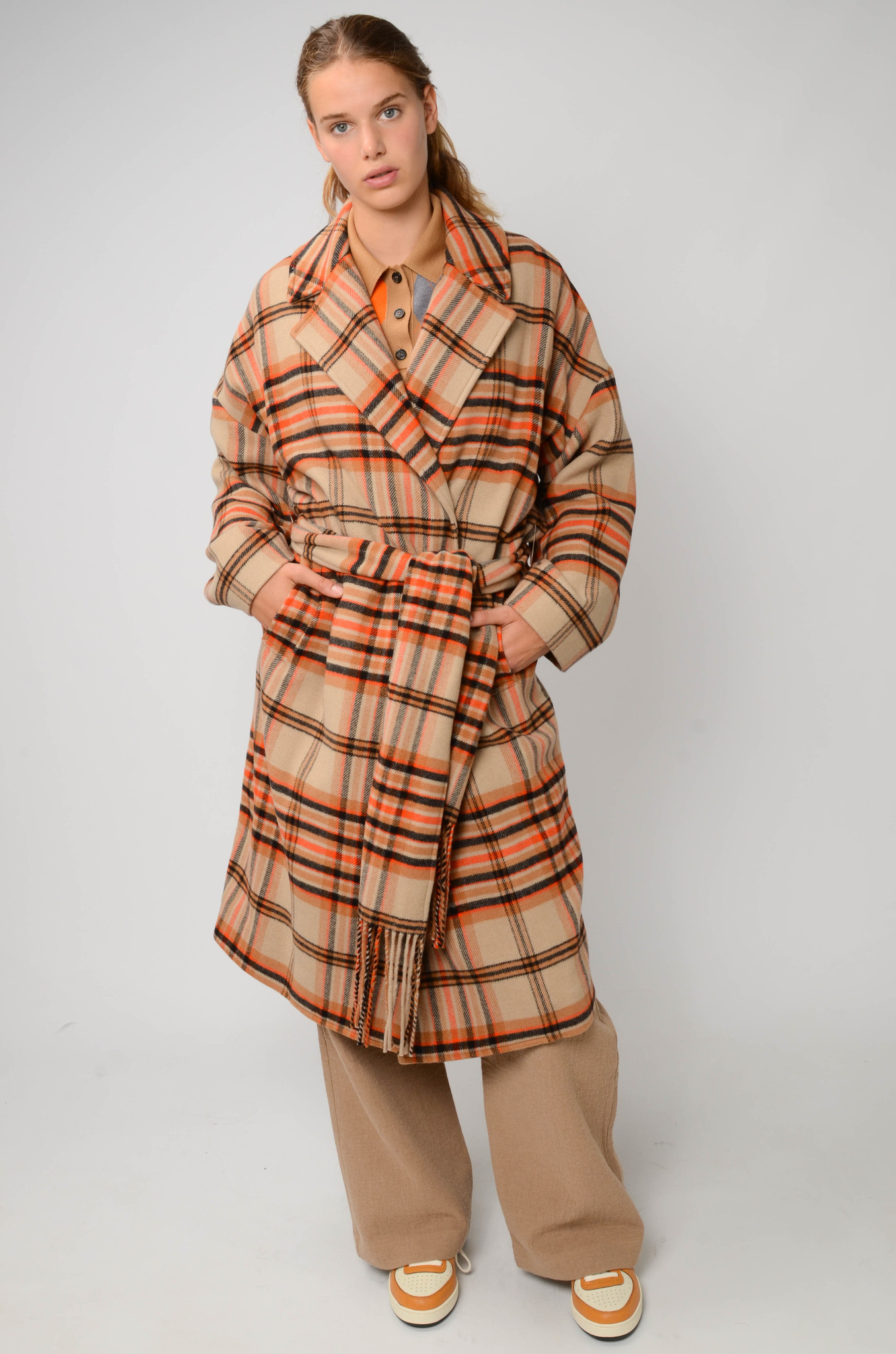 CHECKERED COAT IN ORANGE AND CAMEL-7