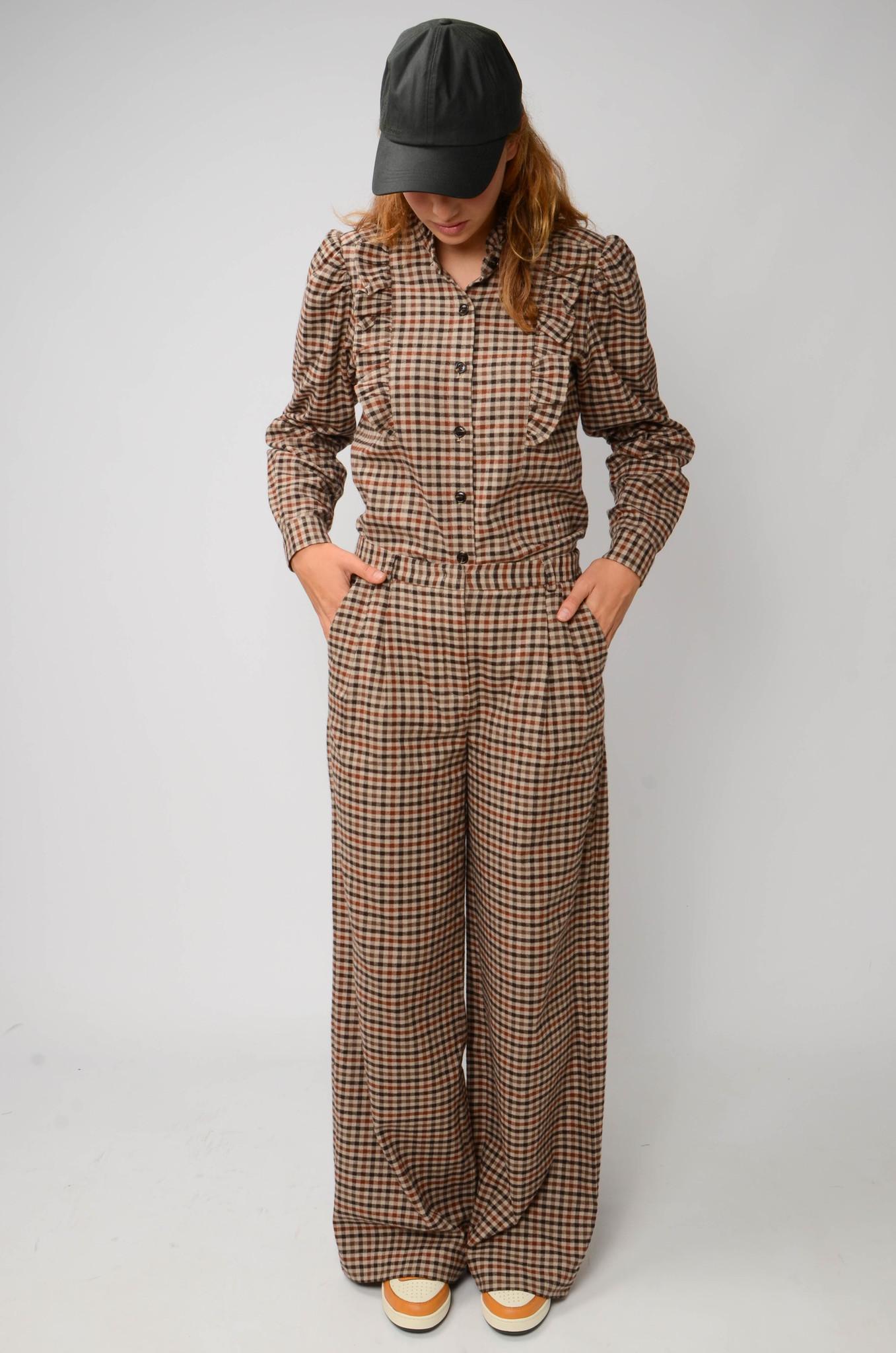 ALFIE CHECK WIDE PANTS IN BROWN-2