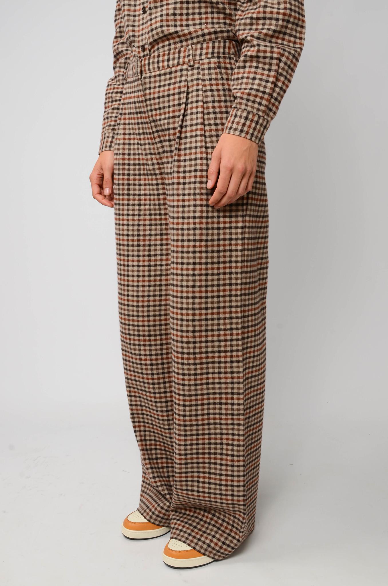 ALFIE CHECK WIDE PANTS IN BROWN-3