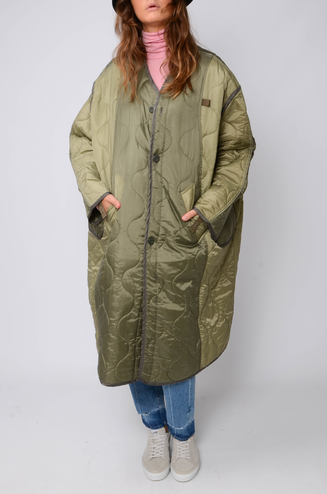 MILITARY QUILTED COAT IN KHAKI-1