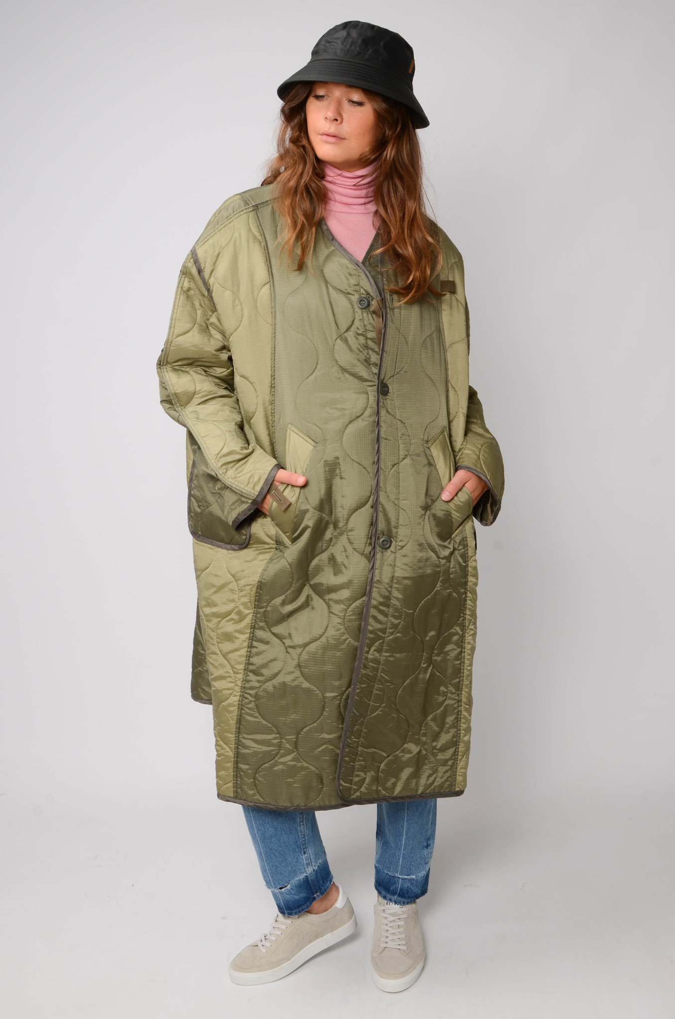 MILITARY QUILTED COAT IN KHAKI-2
