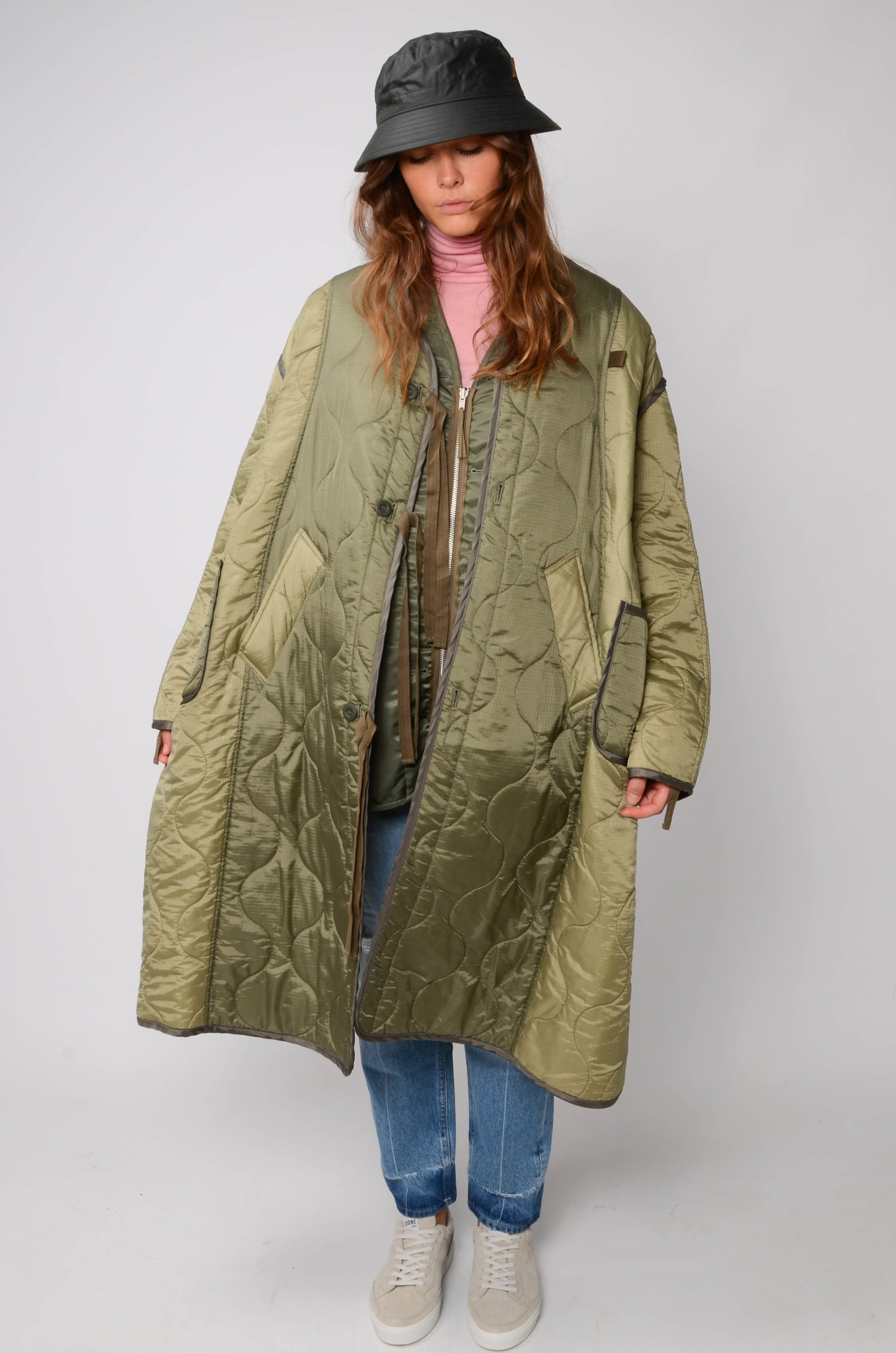 MILITARY QUILTED COAT IN KHAKI-5
