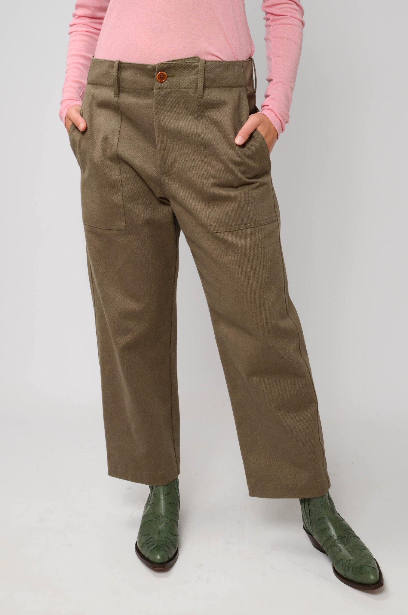 CAMILLE TROUSERS IN ARMY GREEN-5