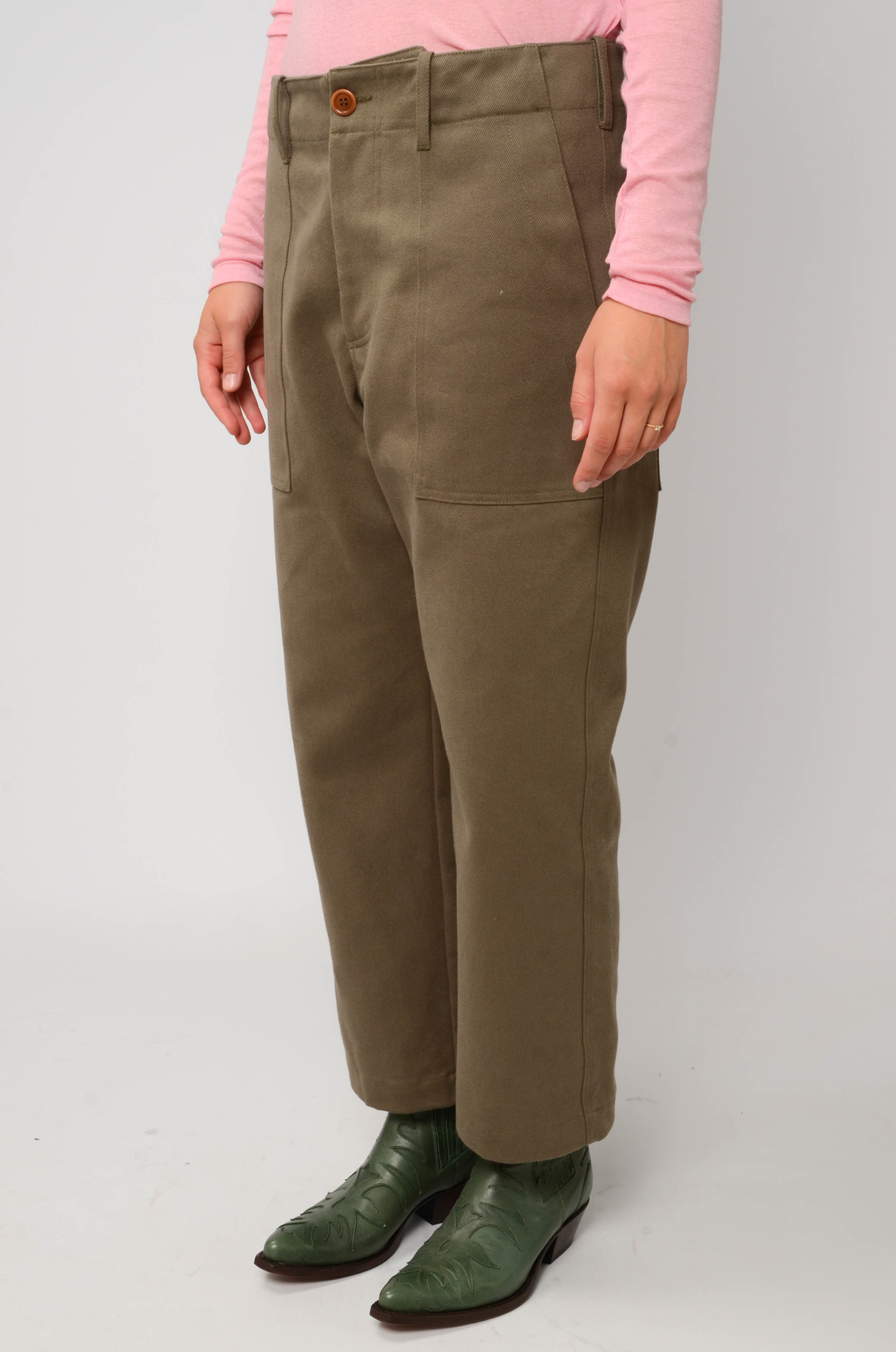 CAMILLE TROUSERS IN ARMY GREEN-3