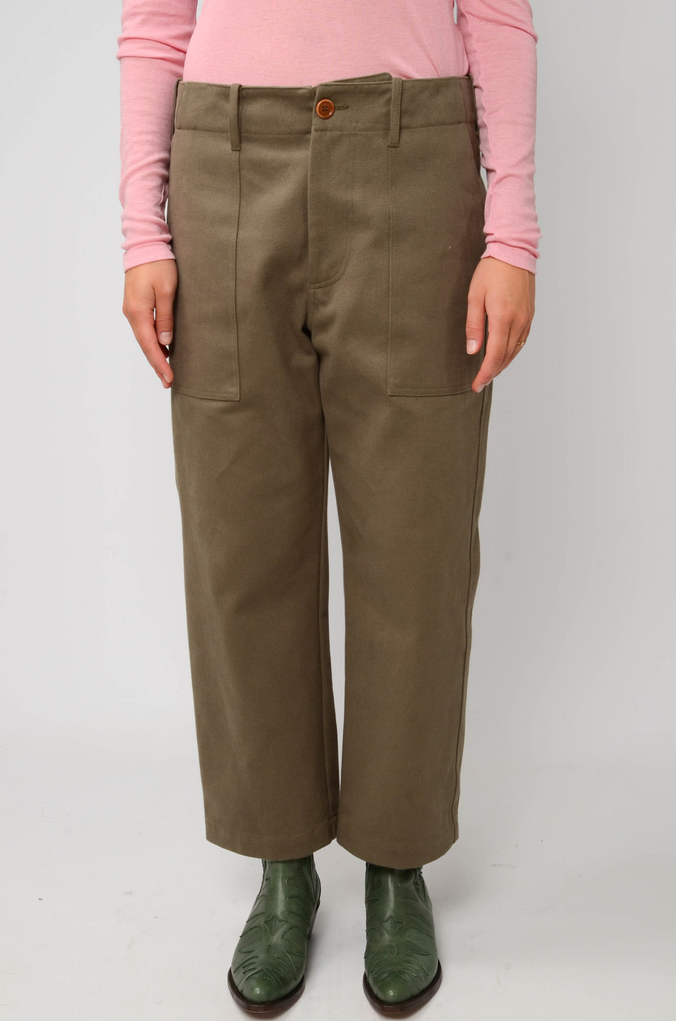 CAMILLE TROUSERS IN ARMY GREEN-1