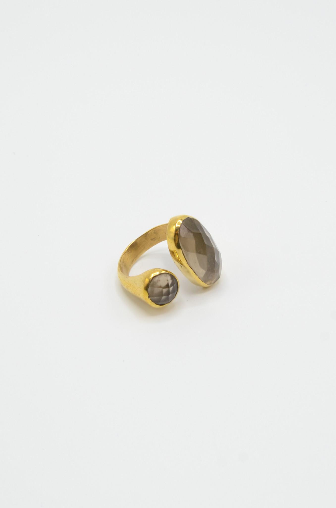 SMOKEY QUARTZ BRASS RING-1