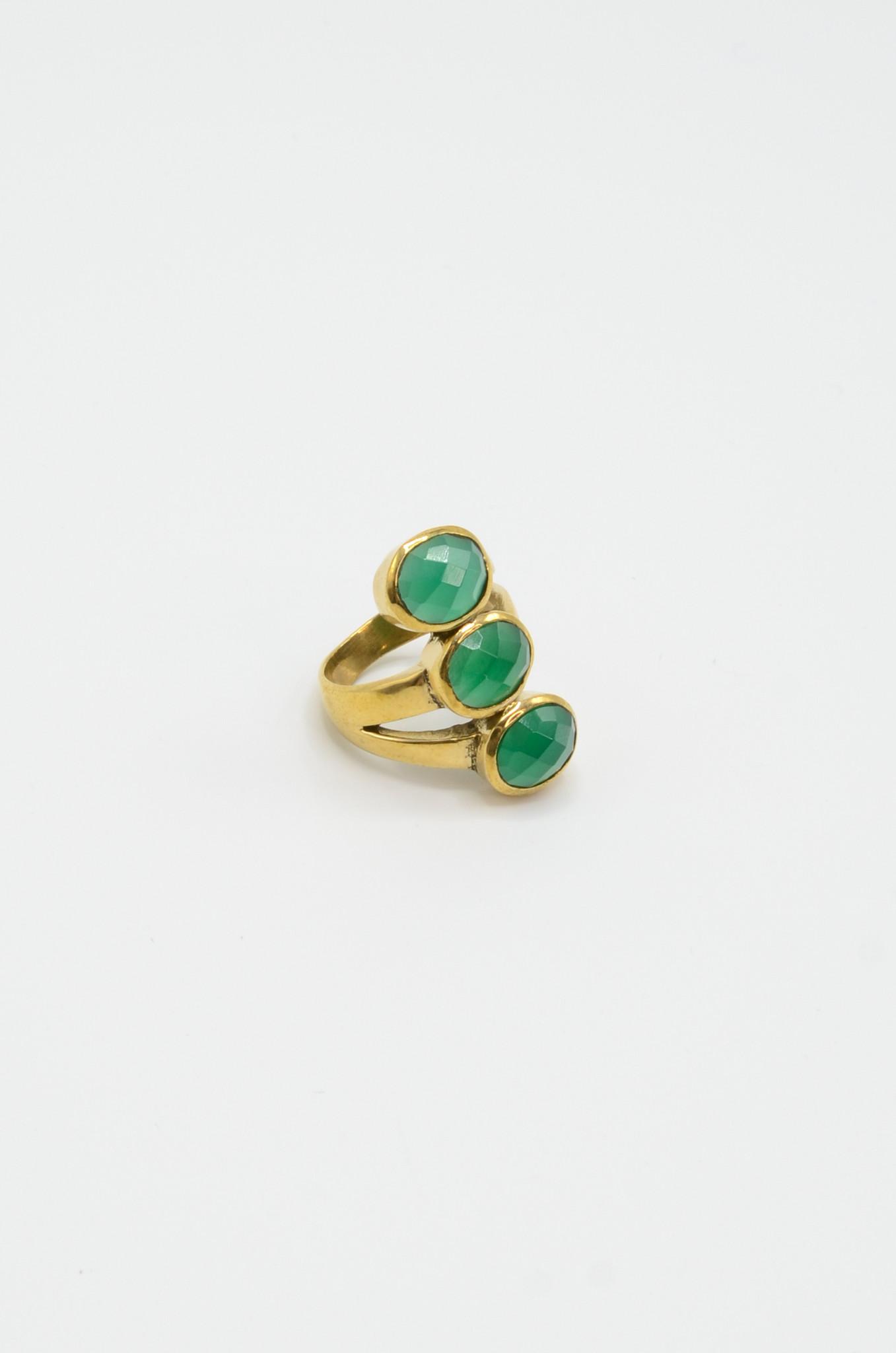 TRIPLE GREEN JADE BRASS RING-1