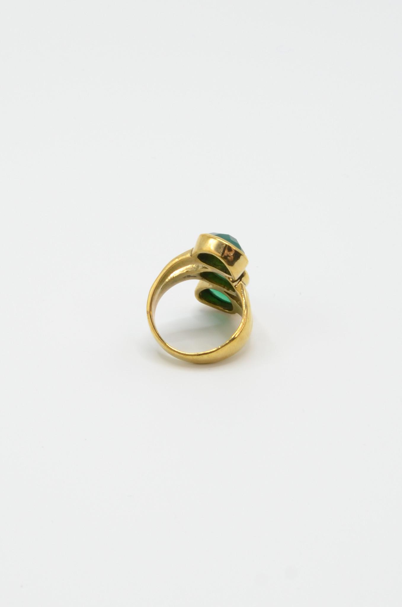 TRIPLE GREEN JADE BRASS RING-2