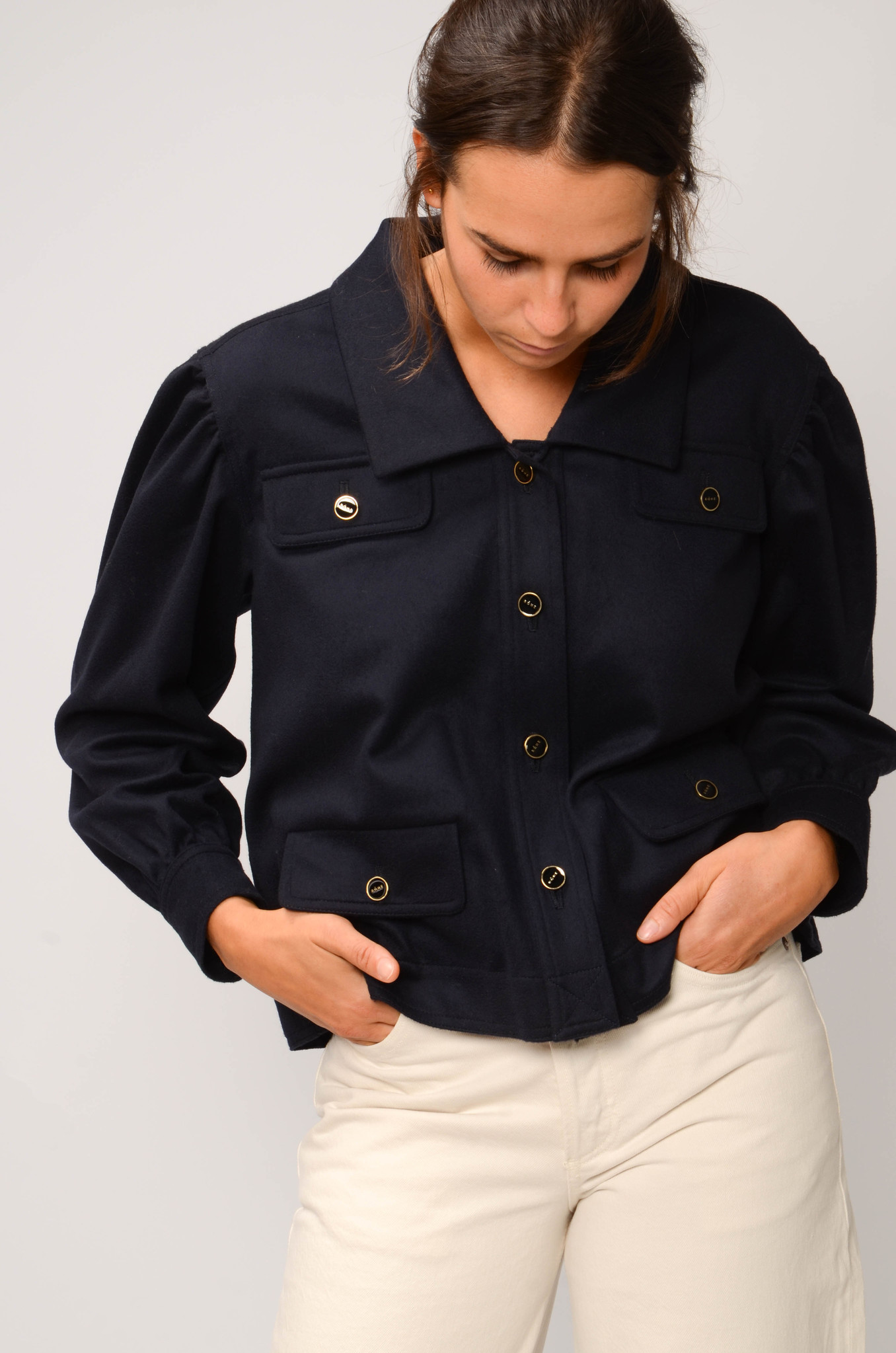 CATHERIN BLOUSE IN NAVY-5