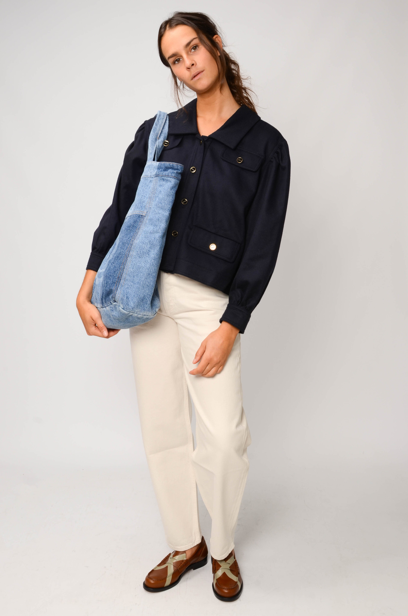 CATHERIN BLOUSE IN NAVY-2