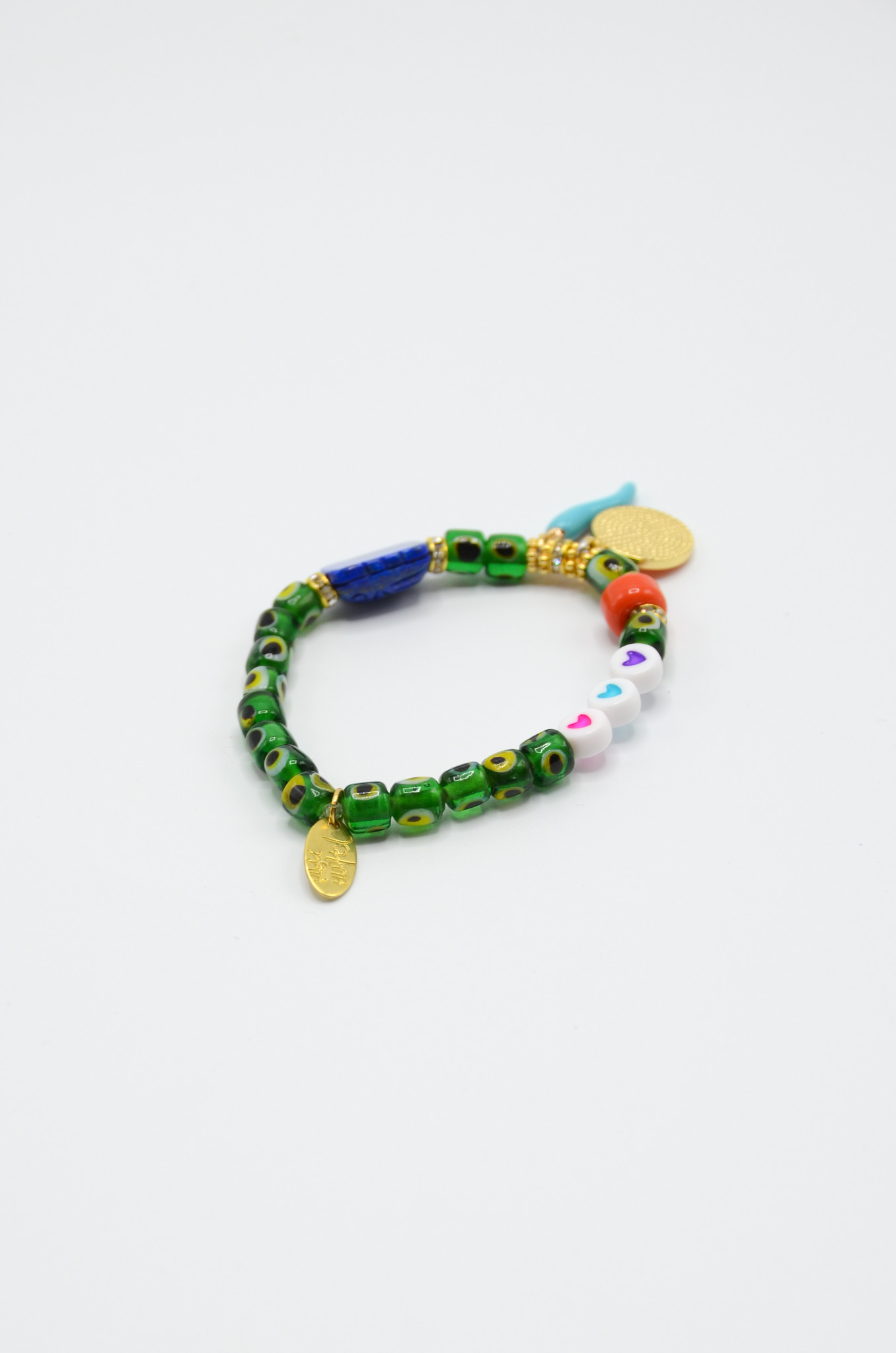 DONNA EVIL EYE BRACELET WITH CHARMS IN GREEN-3