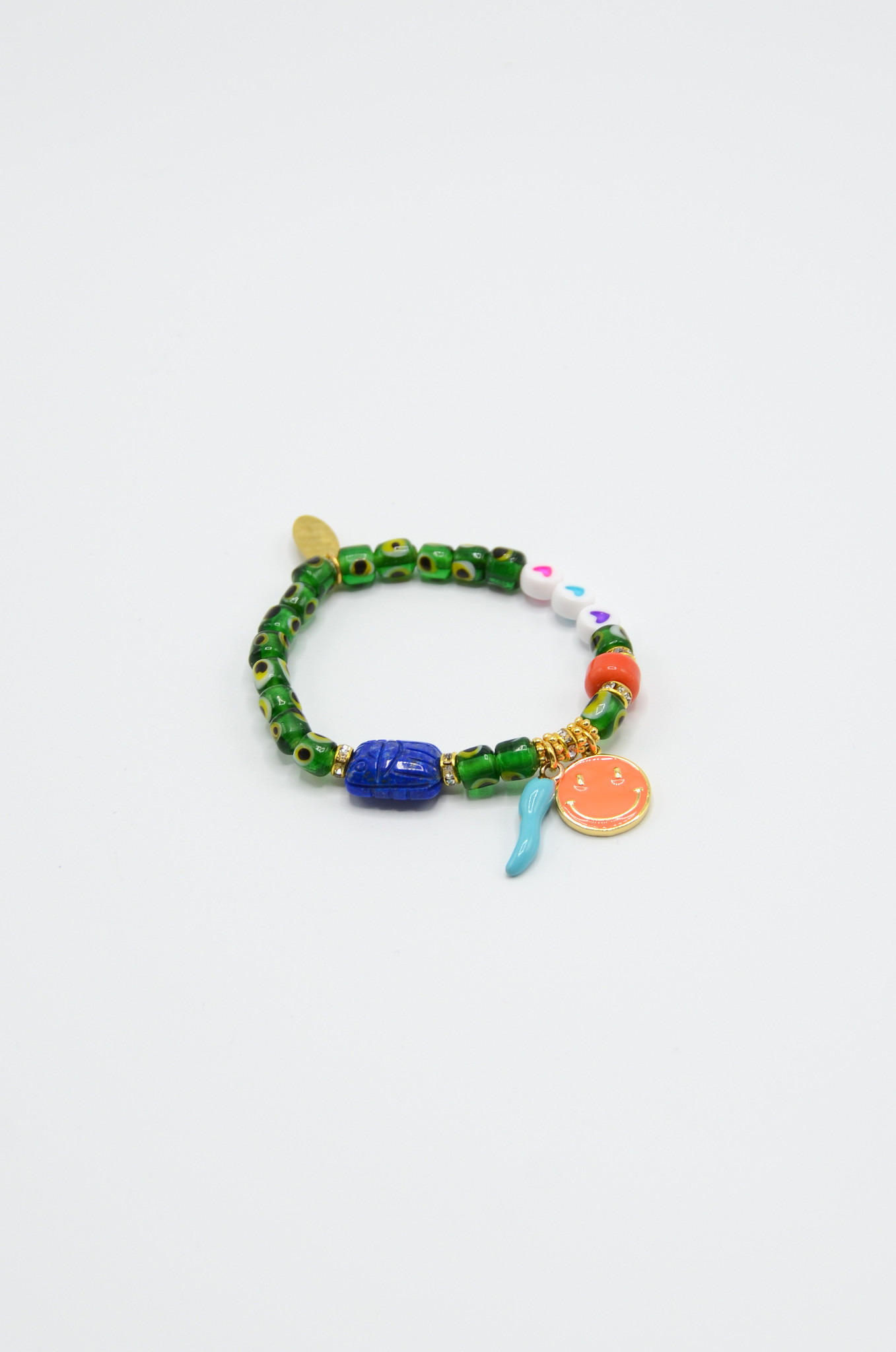 DONNA EVIL EYE BRACELET WITH CHARMS IN GREEN-1