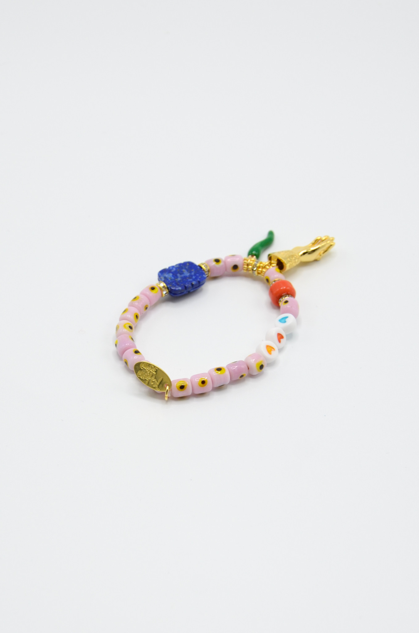 DONNA EVIL EYE BRACELET WITH CHARMS IN SOFT PINK-3