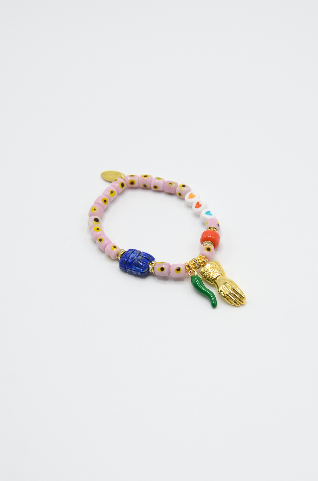 DONNA EVIL EYE BRACELET WITH CHARMS IN SOFT PINK-1