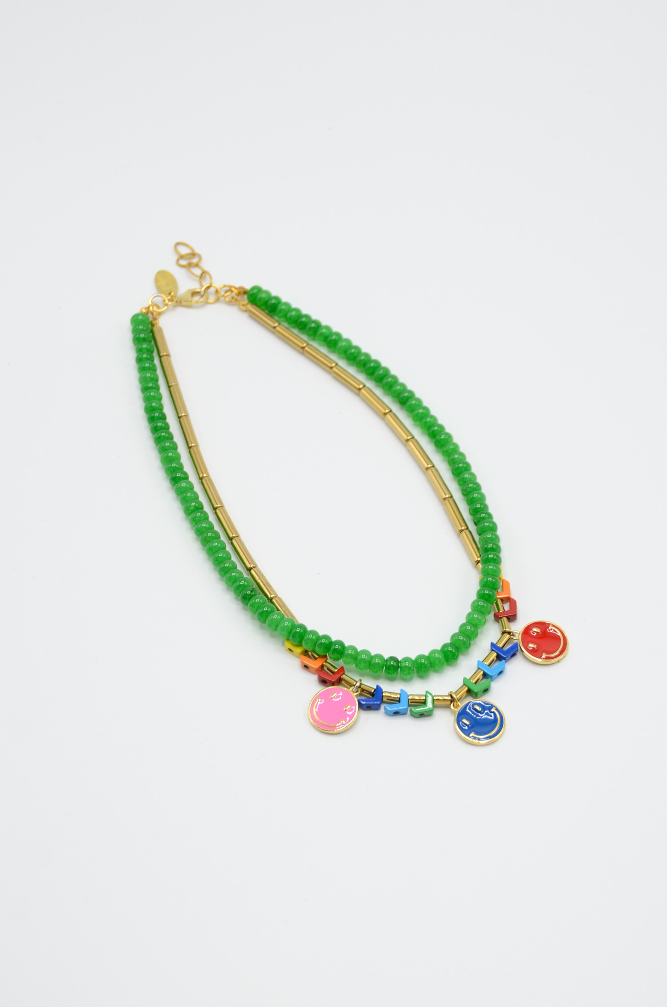 THE SMILEY NECKLACE IN GREEN-3
