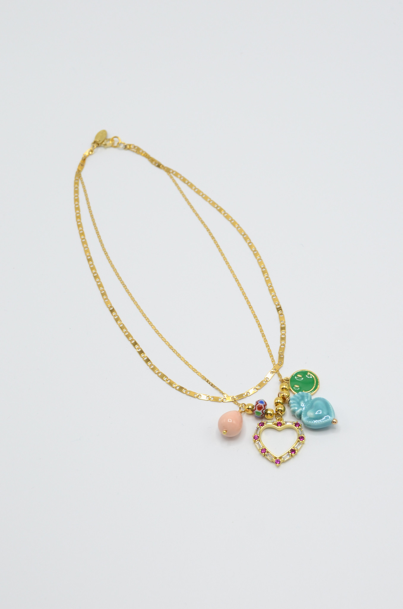 DOUBLE NECKLACE WITH CHARMS BLUE-3