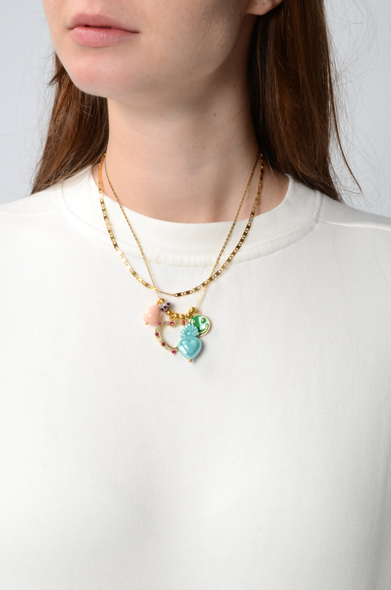 DOUBLE NECKLACE WITH CHARMS BLUE-2