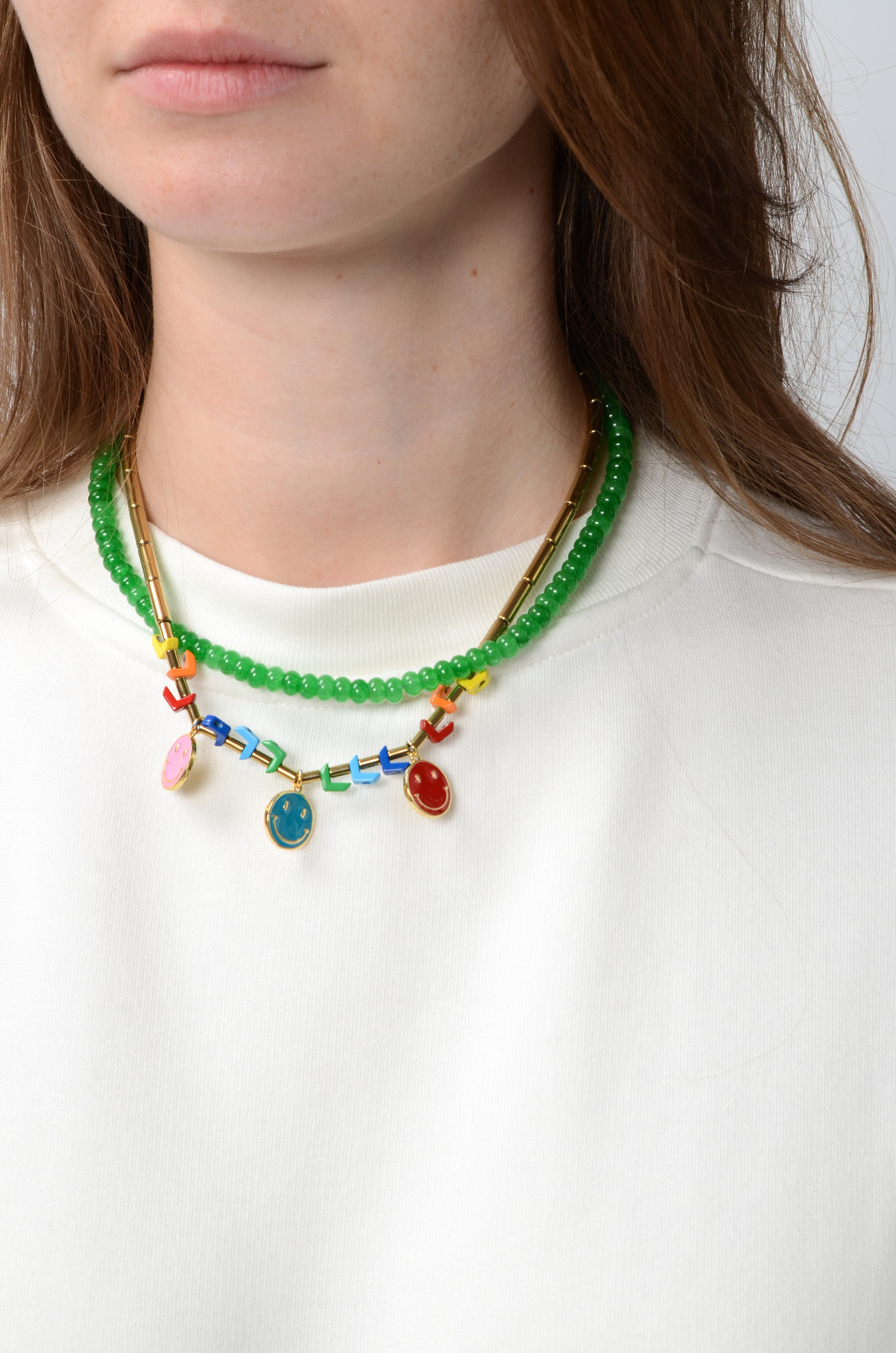THE SMILEY NECKLACE IN GREEN-2