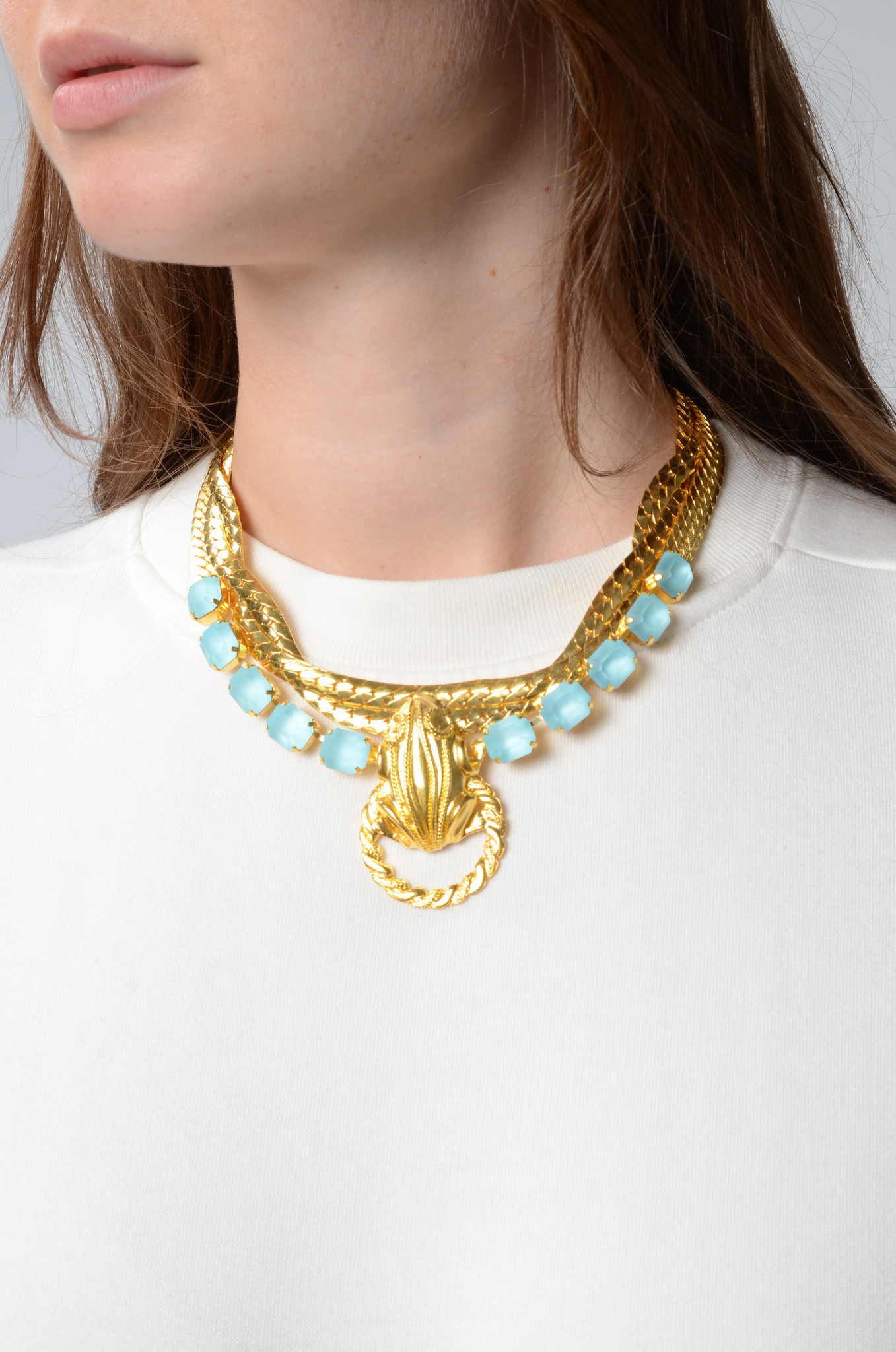 DRUSILLA CHAIN NECKLACE WITH LIGHT BLUE CRYSTALS-2