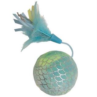 Happy pet Happy pet mermaid bal groot met veren blauw