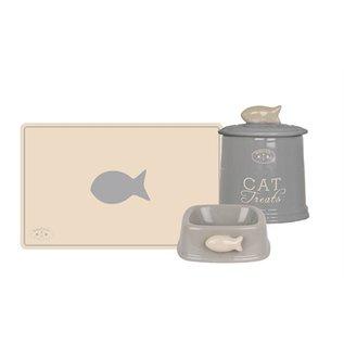 Banbury & co Banbury & co giftset kat placemat / voerbak / voorraadpot keramiek