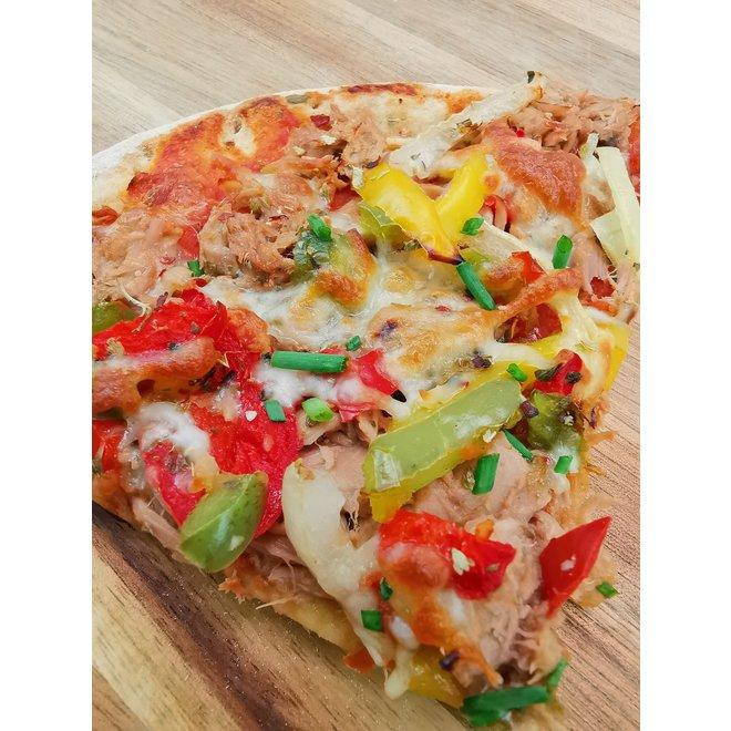 Pizza Tonijn (64,9 gram eiwit)