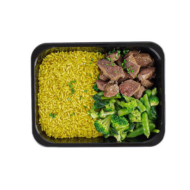 Beef-Gele Rijst-Broccoli (per 3 stuks)