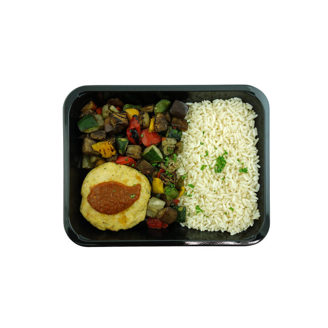 Kipburger-Rijst-Gegrilde groente (3 stuks)