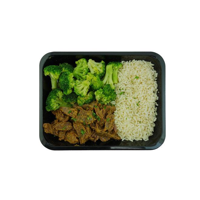 Thai Masamam Beef-Rijst-Broccoli  (per 3 stuks)
