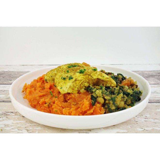 Kiphaas-Zoete Aardappelpuree-Indiase Groenteschotel  (per 3 stuks)