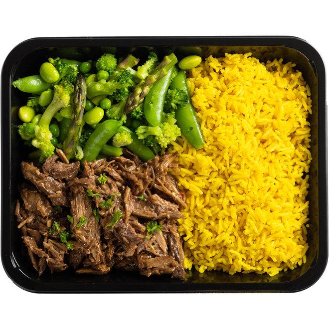 Teriyake Beef-Gele Rijst-Groene Groenten Mix (v.a.€6,89)