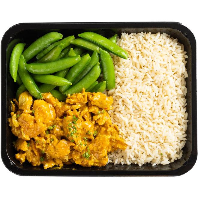 Curry Kip-Rijst-Sugarsnaps (v.a.€6,17)
