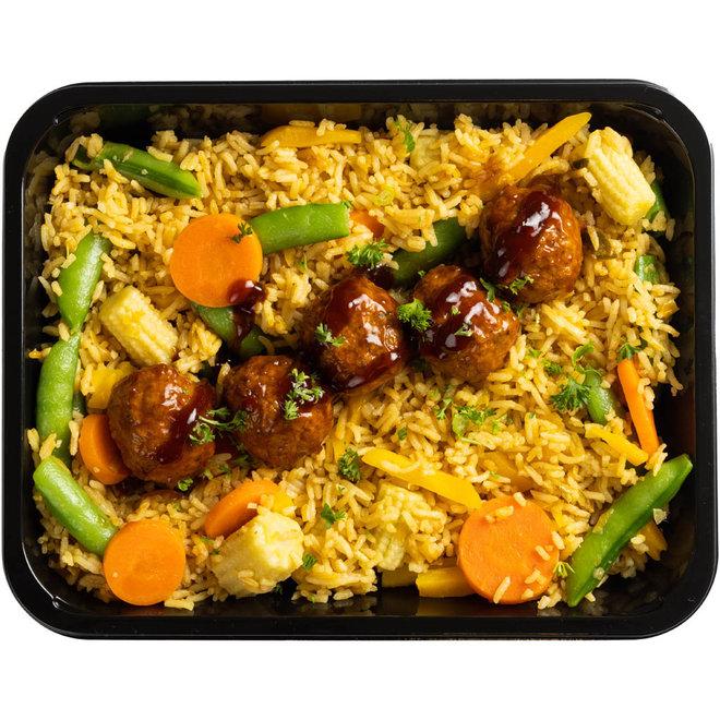 Nasi Goreng-Spicy Kipballetjes (v.a.€6,53)