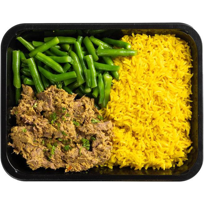Rendang Beef-Gele Rijst-Boontjes (V.a. 8,50)