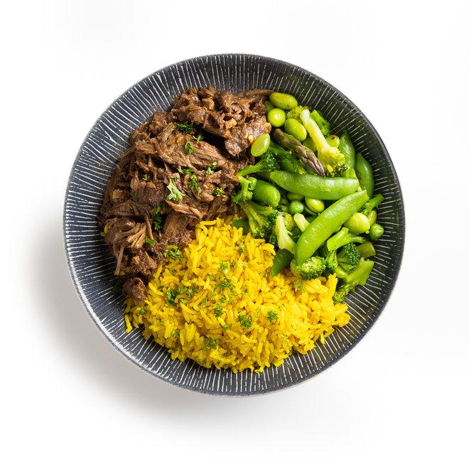 Teriyake Beef, Gele Rijst en Groene Groentemix (v.a. 8,50)