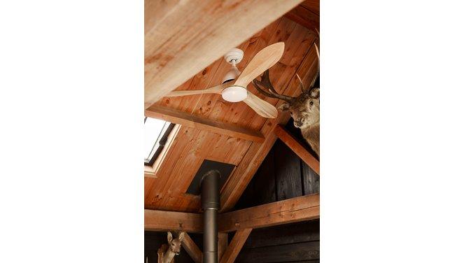 Evolar EVO-CF50BW - Plafondventilator - Dimbare LED-verlichting - Hout/Wit