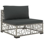 10-tlg. Garten-Lounge-Set mit Auflagen Poly Rattan Grau