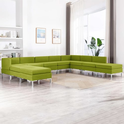 10-tlg. Sofagarnitur Stoff Grün