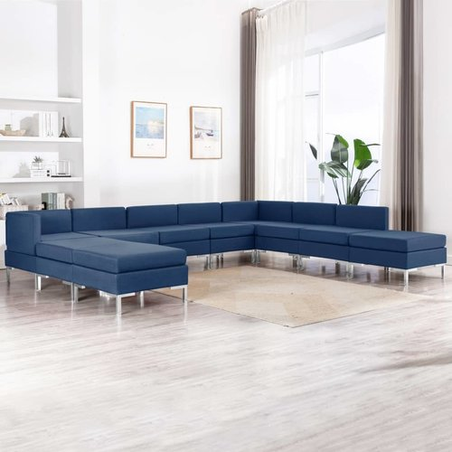 10-tlg. Sofagarnitur Stoff Blau