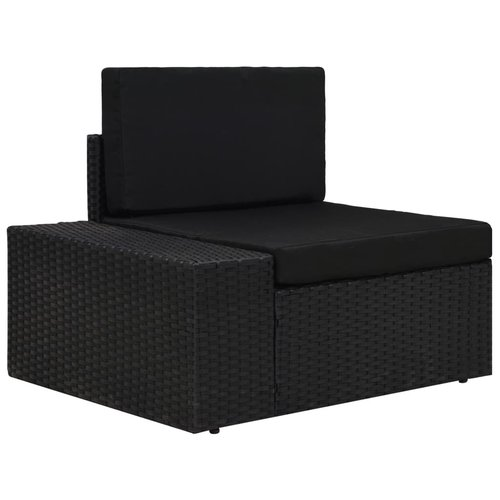 10-tlg. Garten-Lounge-Set Poly Rattan Schwarz